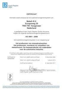 Betech ISO 9001 2008 NL