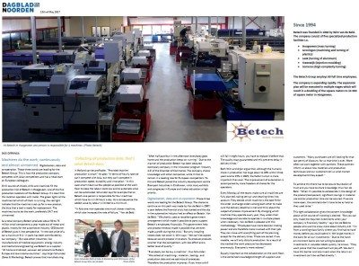 Article Betech Newspaper - Industry 4.0 turning
