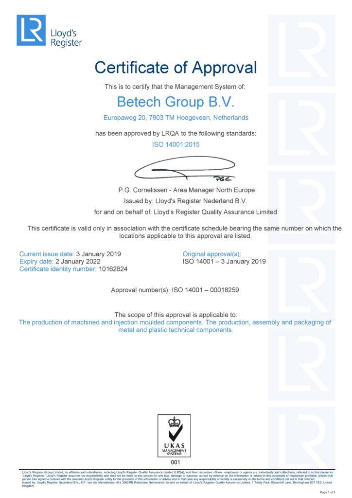 Betech ISO 14001-2015 milieuvriendelijk certificaat