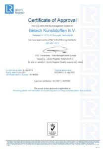 ISO 9001 2015 - Betech Kunststoffen