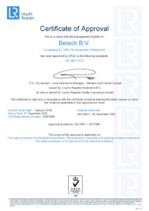 ISO 9001:2015 certificaat Betech Mass Turning